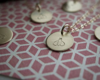 Bee Necklace - Dainty 14k Gold Fill Hand Stamped by Betsy Farmer Designs - Available in Sterling Silver and 14k Rose Gold Fill