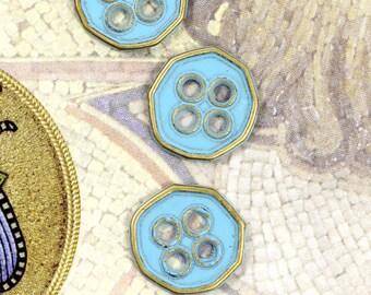 Metal Buttons - Light Blue Heptagon Brass Metal Hole Buttons , 0.43 inch , 10 pcs