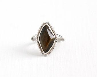 Vintage Sterling Silver Tiger's Eye Ring - Retro 1970s Size 8 Large Dark Brown Quartz Gem Studded Statement Southwestern Tribal Boho Jewelry