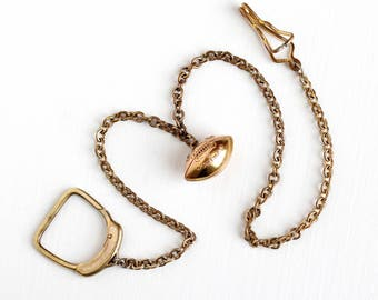 Vintage Brass Tone & 10k Gold Filled Football Fob Pocket Watch Chain - Large Pant Belt Clip Slide Champion Athlete 1946 Charm Swank Jewelry
