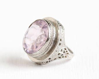 Antique Sterling Silver Art Deco Filigree Simulated Amethyst Ring - Vintage 1930s Size 4 Purple Glass February Birthstone Jewelry