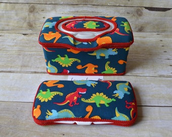 Set of 2, Large Nursery Wipe Case and Travel Baby Wipe Case, Dinosaurs on Blue, Dino, Large Case and Travel Case, Baby Shower Gift
