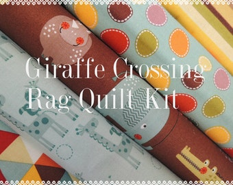 Rag Quilt Kit, Giraffe Crossing 2, Kit 2, Super Simple to Make, Personalized, Bin A, Sewing Available