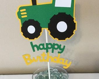 Green  tractor happy birthday Smash Cake topper farm party