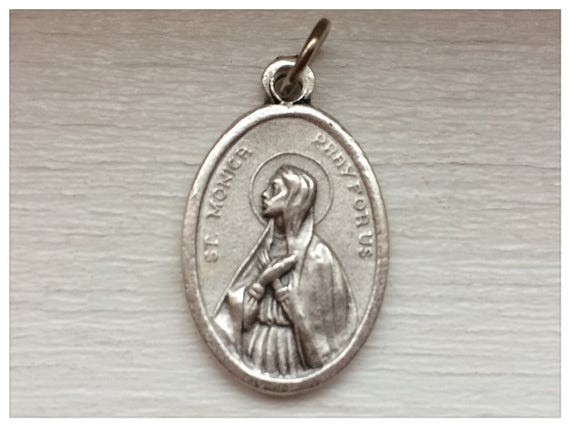 5 Patron Saint Medal Findings, St. Monica, Pray, Die Cast Silverplate, Silver Color, Oxidized Metal, Made in Italy, Charm, Drop, RM608