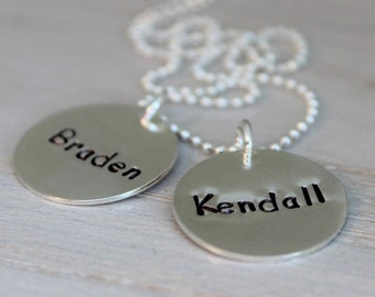 two names necklace for mom with 2 kids, classic mommy necklace, push present for new mom, malisay designs stamped name tag pendants