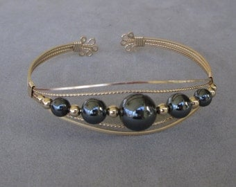 Wire-Wrapped Cuff Bracelet with Hematite and 14K Gold-Filled Beads