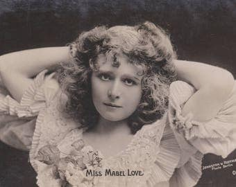 Mabel Love 1, British Stage Beauty, circa 1905. Vintage British Postcard