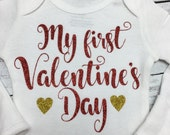Ready to Ship!  My First Valentine's Day.  Valentine day. Baby girl. Valentine. Gift.  Baby girl outfit.  First Valentine outfit