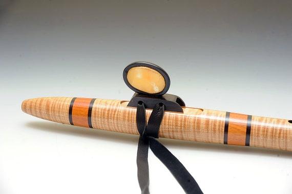 Native American Style Flute Curly Maple Osage Orange and Orange Calcite