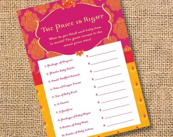 Morocco Pink and Gold - Printable Baby Shower Price is Right Game Yellow and Fuchsia Paisley Moroccan Baby shower game - INSTANT DOWNLOAD