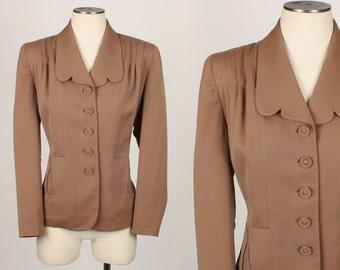 vintage 1940s MOCHA wool gabardine jacket • size large
