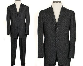 1950s flecked black & white wool suit • size 40