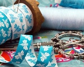 Jacquard Ribbon, blue and white reversible fairy Ribbon,  Farbenmix woven fairy webband,  Sewing Tape, 1 metre