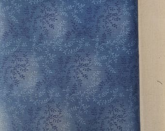 "Medium Blue Vines with Leaves 108"" wide back 100% cotton fabric"
