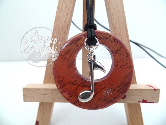 Music Note wood pendant
