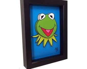 Kermit the Frog The Muppets Print Kermit the Frog Print The Muppets Art Kermit the Frog Art 3D Art Jim Henson