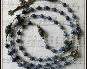 Miraculous Rosary, Catholic Rosary for Women, Bronze Rosary in Blue Sodalite, Handmade Rosary, Beaded Rosary, Blue Rosary, 5 Decade Rosary