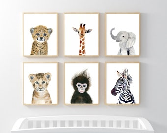 African Baby Animals, Nursery Print Set 6, Safari Nursery Art Prints, Animal Art, Baby Elephant, Giraffe, Monkey, Cheetah, Lion, Zebra