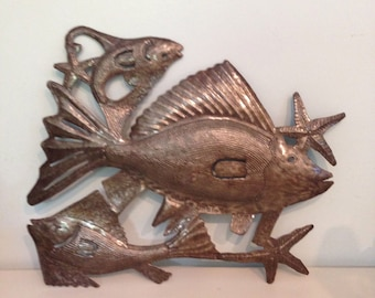 FISHIES! Starfish! Handhammered Metal Wall Art, for Indoors or Outdoors!