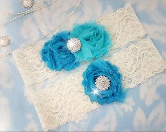Aqua and Turquoise Wedding Garter Set - Bridal Garter - Ivory Lace Garter - crystal garter set - blue Wedding Garter - aqua and turquoise