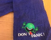 Two Don't Panic hand towels in black