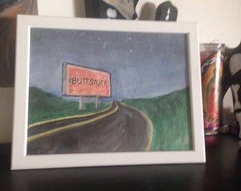 Buttstuff - handpainted and framed watercolor landscape