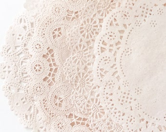 CHAMPAGNE | BLUSH [50] Hand Dyed Paper Lace Doilies. 4, 5, 6 or 8 INCH - You Choose The Doily Size + Style