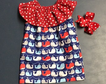 Girls Dress red and blue girls  Ruffle Neck dress whale navy 9 month 12 month 18 month 2T 3T 4T 5T and 6  includes  hair bow