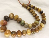 Tricolor Jade Graduated Rondelle Beads 16 Inch Strand