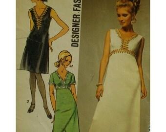 """Empire Waist Dress Pattern, Evening Wear, V-neck, A-line Skirt, Braid Trim, 70s, Sleeveless, Simplicity No. 9064 Size 16 (Bust 38"""" 97cm)"""