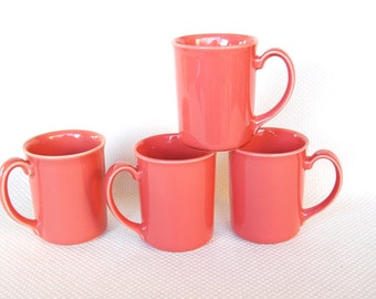 "Set of 4 Vintage Corning Mugs ROSE Corning Stoneware Coral Colored Mugs Salmon Colored Mugs Coordinates with Corelle ""Summer Blossoms"""