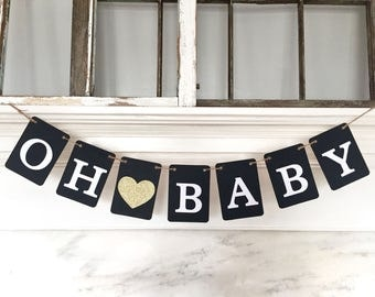 OH BABY banner, black and gold, baby shower banner, pregnancy announcement, nursery garland, gold glitter heart
