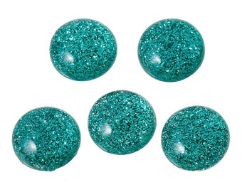 6 Resin Dark Green Glitter Dome 12mm