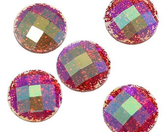 10 Resin Red AB Color Transparent Glitter Faceted Dome 8mm