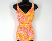 60s Jantzen Swimsuit, One Piece Bathing Suit, Octopus Tentacles, Neon Mod Print, Vintage 1960s 1970s Size Small