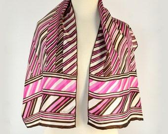 Echo Long Scarf, Pink Brown White Stripes, Fresh True Vintage
