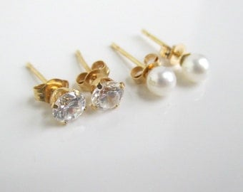 14K Solid Gold Pierced Earrings Set - Genuine Pearl and Colorless Stone w/ 10K Black Hills Leaf Design - Convertible