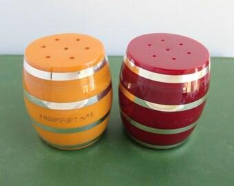 Bakelite Salt & Pepper Shakers - Vintage Butterscotch and Burgundy w/ Silver Trim