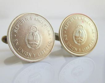 ARGENTINA Coin Cuff Links - Repurposed Republica Argentina Gold Tone Coins, Worn