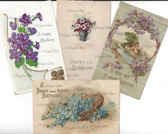 Vintage Happy Birthday Postcard Images Digital Download Flowers Forget me nots Antique Images Card Making Crafting Scrapbooking