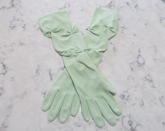 VINTAGE 1950's Mint Green Ruched Elbow Length Gloves---14 inches---size 7---Glove Auction #201-117