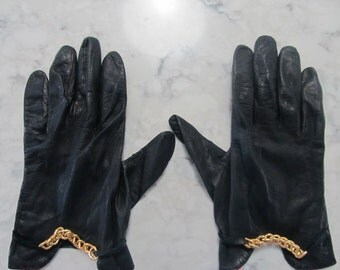 "Vintage 1960's Black Leather 8"" Wrist Length Gloves with Gold Chains---Size 7 to 7 1/2--Auction #1224-0417-0000"