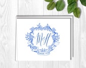 Thank you cards, Blue Crest, Monogram initials