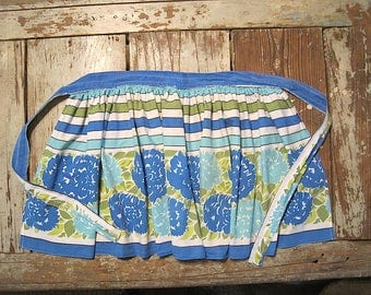 Vintage Blue and Green Cotton Apron