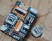 Notebook & mirror set - covered in campervan print fabric. Removable cover