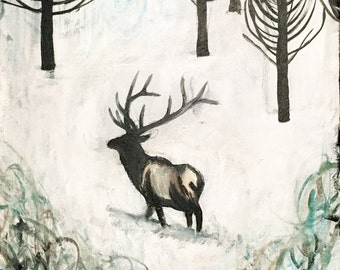 "Original Elk Painting - ""Elk in the Woods"""