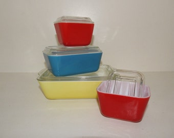 Vintage Pyrex 4 Piece Refrigerator Set Plus Lids - Yellow - 503, Blue - 502, Two Red - 501 - This Set In Beautiful Condition
