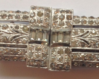 Vintage Duette Brooch Dress Clips Rhinestones Patent Numbesr As Is