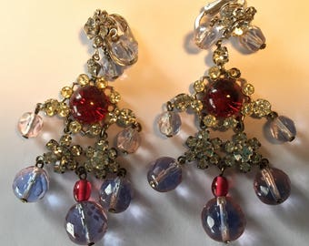 Vintage Castlecliff Chandelier Earrings Rhinestones Glass Cabochons Beads Red